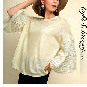 Tops - Light Knit Drop Shoulder Fuzzy Bell Sleeve Top